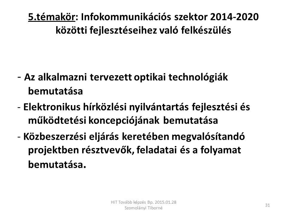 5.témakör: Infokommunikációs szektor 2014-2020 közötti fejlesztéseihez való felkészülés - Az alkalmazni tervezett optikai technológiák bemutatása - El