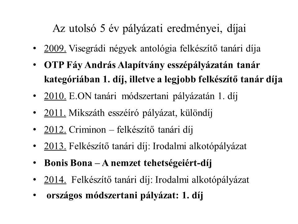 Az utolsó 5 év pályázati eredményei, díjai 2009. Visegrádi négyek antológia felkészítő tanári díja OTP Fáy András Alapítvány esszépályázatán tanár kat