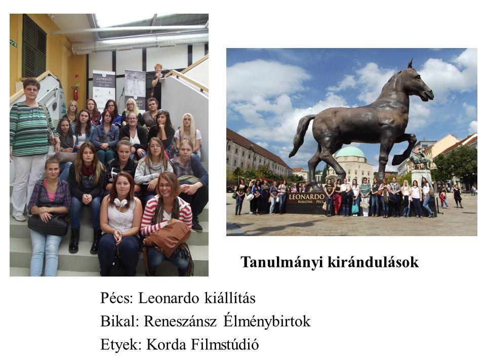 Tanulmányi kirándulások Pécs: Leonardo kiállítás Bikal: Reneszánsz Élménybirtok Etyek: Korda Filmstúdió