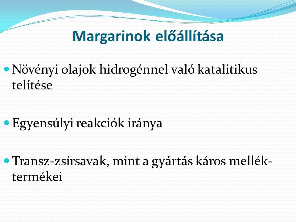 Margarinok előállítása Növényi olajok hidrogénnel való katalitikus telítése Egyensúlyi reakciók iránya Transz-zsírsavak, mint a gyártás káros mellék-