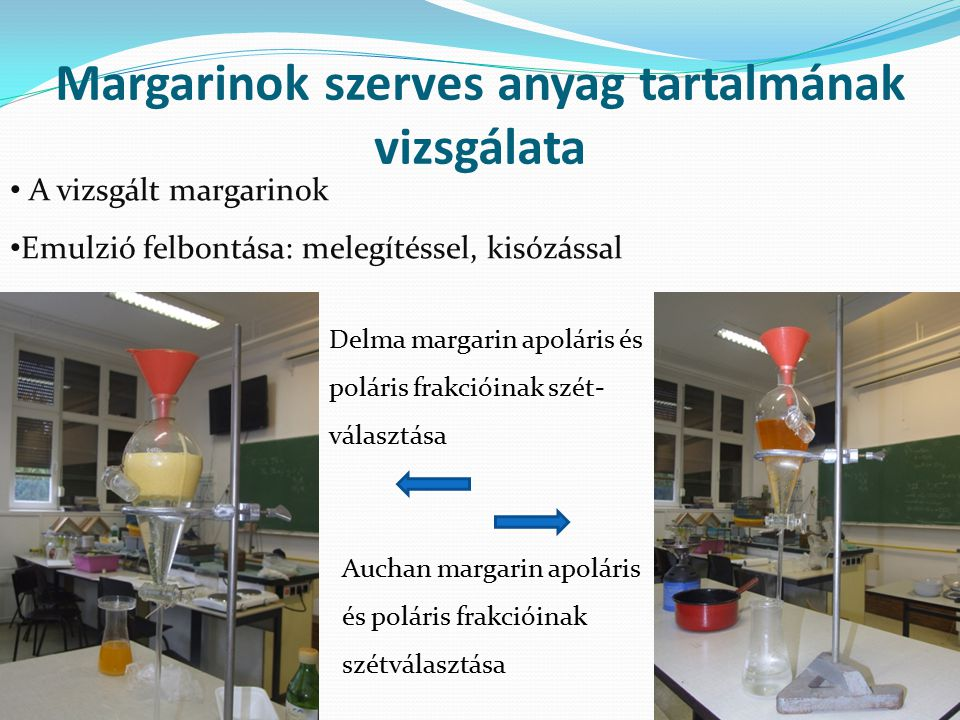 Kísérlet eredményei I: a szerves anyag tartalom Súly (g) Auchan margarin Rama margarin Delma margarin Doboz 15 Margarin (doboz nélkül) 489500495 Poláris frakció (víz, só nélkül)268 263 234 Apoláris frakció (növényi zsírok) 193min.