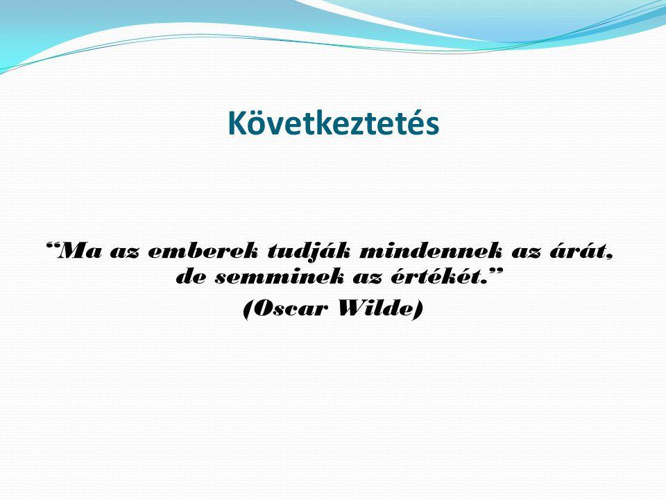 """Következtetés """"Ma az emberek tudják mindennek az árát, de semminek az értékét."""" (Oscar Wilde)"""
