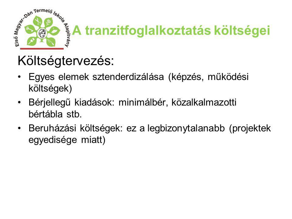 A tranzitfoglalkoztatás költségei Költségtervezés: Egyes elemek sztenderdizálása (képzés, működési költségek) Bérjellegű kiadások: minimálbér, közalka