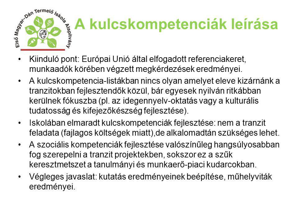 A kulcskompetenciák leírása Kiinduló pont: Európai Unió által elfogadott referenciakeret, munkaadók körében végzett megkérdezések eredményei. A kulcsk