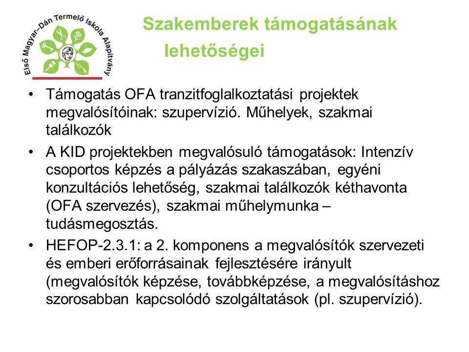 Szakemberek támogatásának lehetőségei Támogatás OFA tranzitfoglalkoztatási projektek megvalósítóinak: szupervízió. Műhelyek, szakmai találkozók A KID