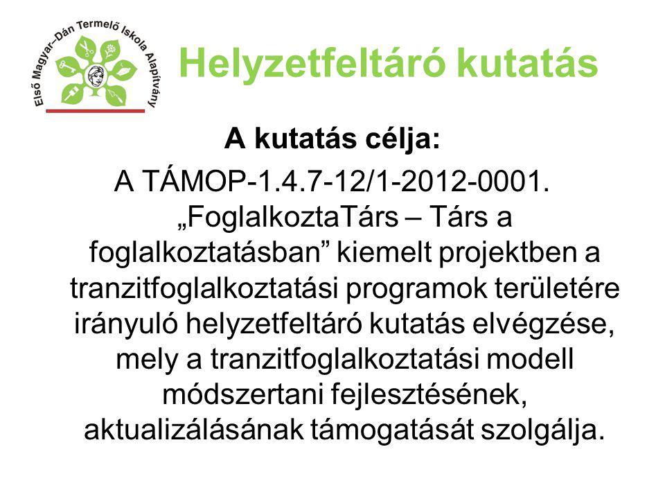 """Helyzetfeltáró kutatás A kutatás célja: A TÁMOP-1.4.7-12/1-2012-0001. """"FoglalkoztaTárs – Társ a foglalkoztatásban"""" kiemelt projektben a tranzitfoglalk"""