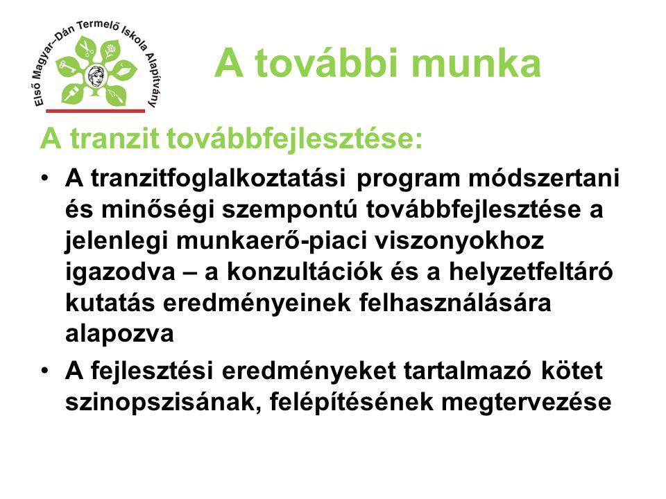 A további munka A tranzit továbbfejlesztése: A tranzitfoglalkoztatási program módszertani és minőségi szempontú továbbfejlesztése a jelenlegi munkaerő