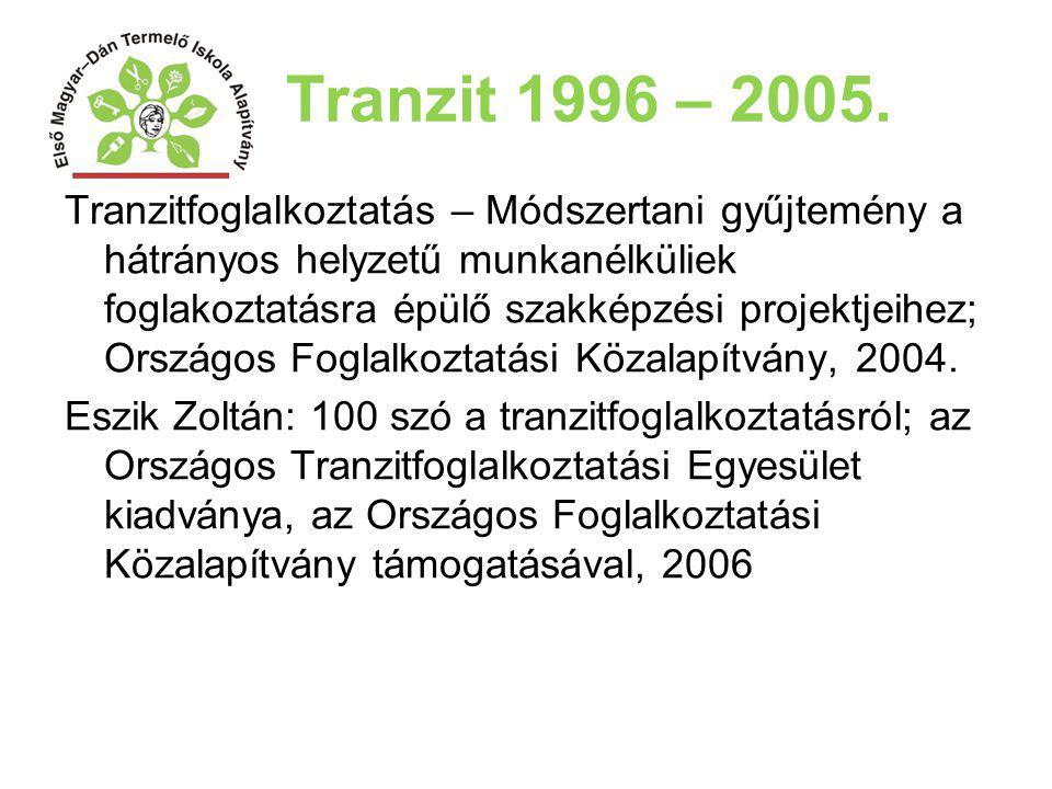 Tranzit 1996 – 2005. Tranzitfoglalkoztatás – Módszertani gyűjtemény a hátrányos helyzetű munkanélküliek foglakoztatásra épülő szakképzési projektjeihe