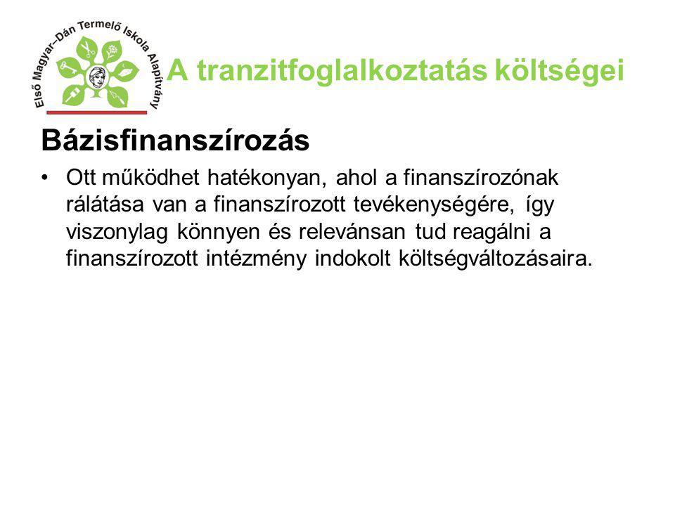 A tranzitfoglalkoztatás költségei Bázisfinanszírozás Ott működhet hatékonyan, ahol a finanszírozónak rálátása van a finanszírozott tevékenységére, így