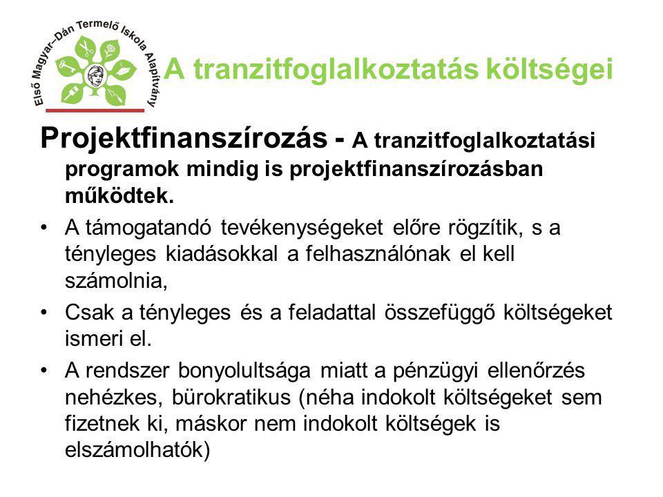 A tranzitfoglalkoztatás költségei Projektfinanszírozás - A tranzitfoglalkoztatási programok mindig is projektfinanszírozásban működtek. A támogatandó