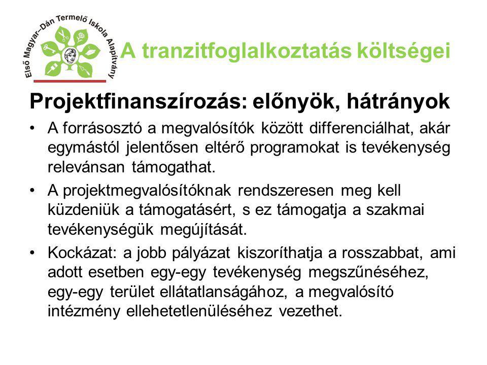 A tranzitfoglalkoztatás költségei Projektfinanszírozás: előnyök, hátrányok A forrásosztó a megvalósítók között differenciálhat, akár egymástól jelentő