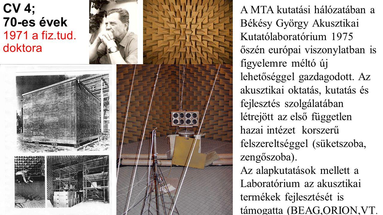 CV 4; 70-es évek 1971 a fiz.tud. doktora A MTA kutatási hálózatában a Békésy György Akusztikai Kutatólaboratórium 1975 őszén európai viszonylatban is