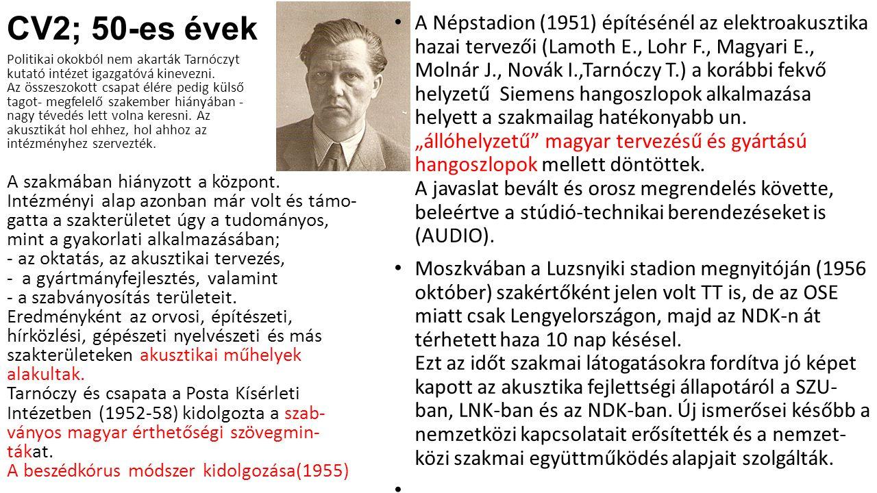 CV2; 50-es évek Politikai okokból nem akarták Tarnóczyt kutató intézet igazgatóvá kinevezni. Az összeszokott csapat élére pedig külső tagot- megfelelő