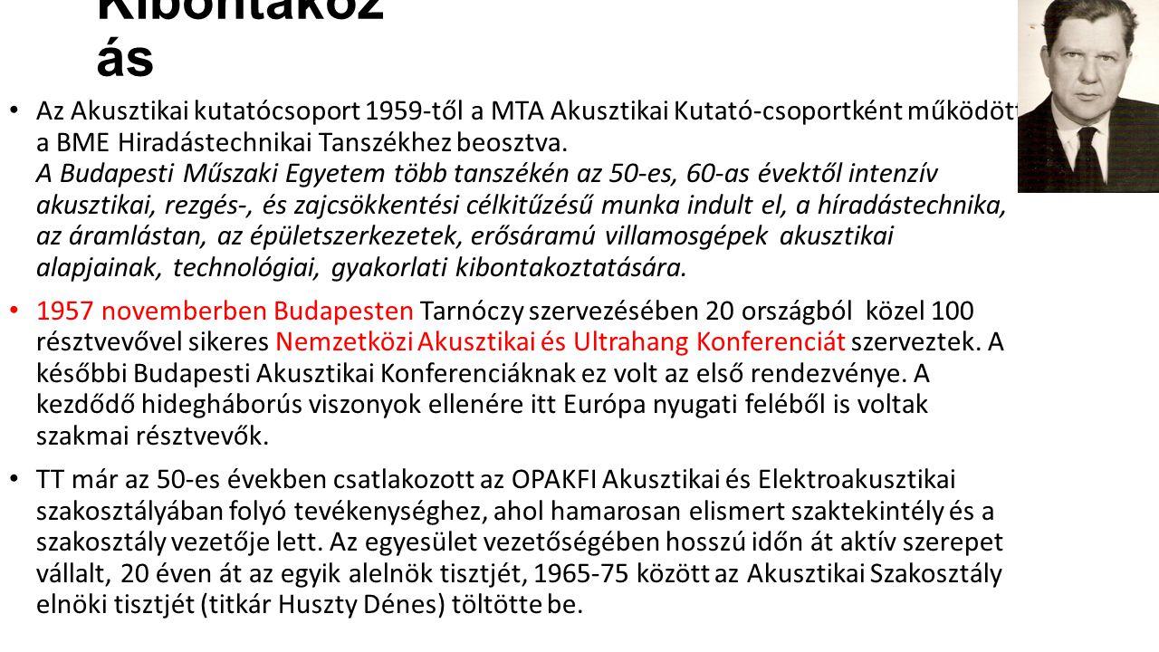 Kibontakoz ás Az Akusztikai kutatócsoport 1959-től a MTA Akusztikai Kutató-csoportként működött a BME Hiradástechnikai Tanszékhez beosztva. A Budapest