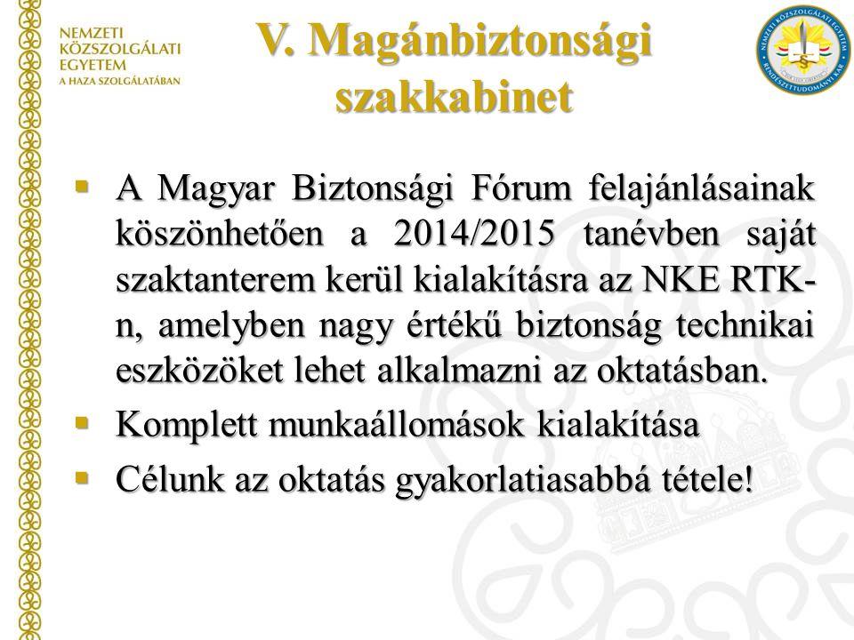 V. Magánbiztonsági szakkabinet  A Magyar Biztonsági Fórum felajánlásainak köszönhetően a 2014/2015 tanévben saját szaktanterem kerül kialakításra az