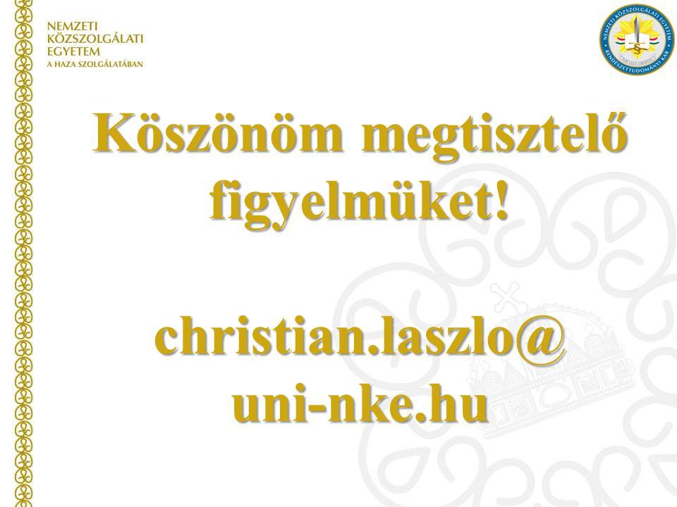 Köszönöm megtisztelő figyelmüket! christian.laszlo@uni-nke.hu