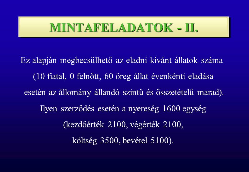MINTAFELADATOK - II.