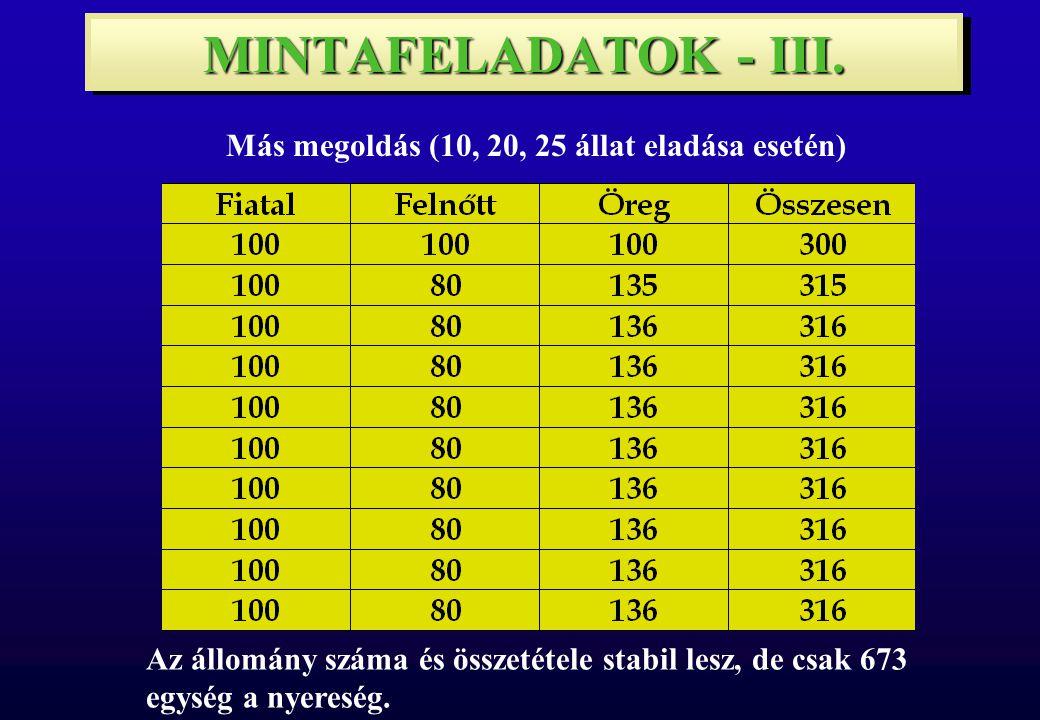 MINTAFELADATOK - III.