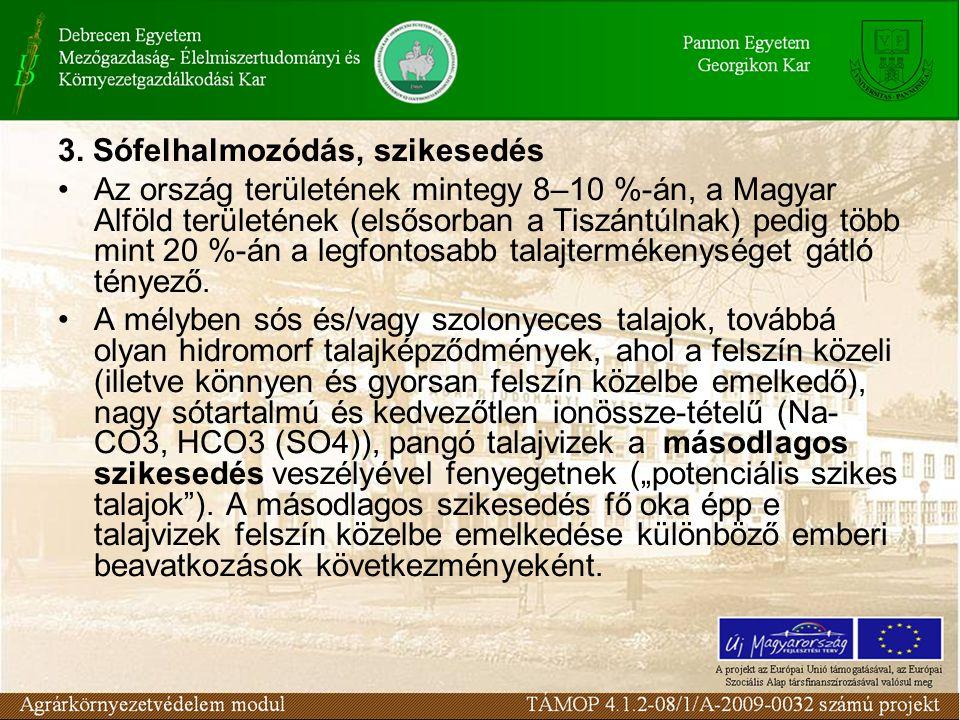 3. Sófelhalmozódás, szikesedés Az ország területének mintegy 8–10 %-án, a Magyar Alföld területének (elsősorban a Tiszántúlnak) pedig több mint 20 %-á