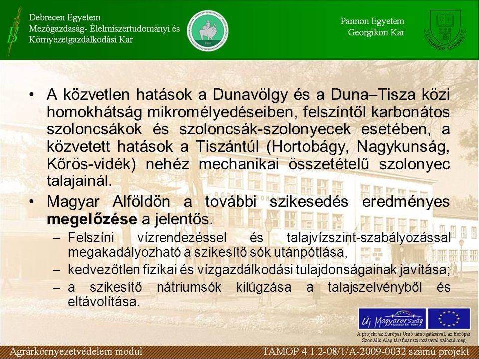 A közvetlen hatások a Dunavölgy és a Duna–Tisza közi homokhátság mikromélyedéseiben, felszíntől karbonátos szoloncsákok és szoloncsák-szolonyecek esetében, a közvetett hatások a Tiszántúl (Hortobágy, Nagykunság, Kőrös-vidék) nehéz mechanikai összetételű szolonyec talajainál.
