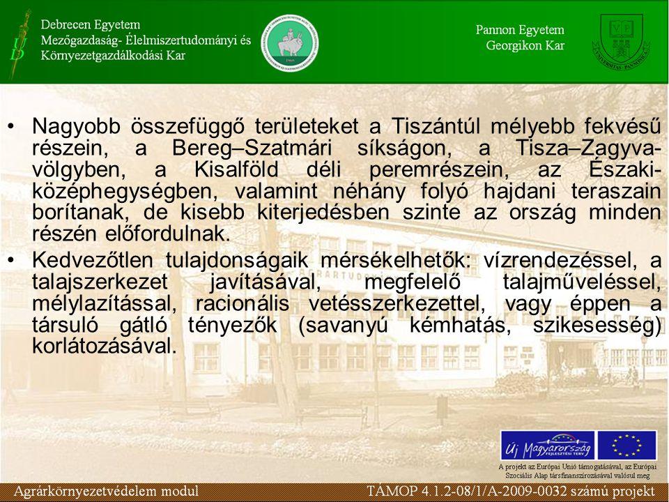 Nagyobb összefüggő területeket a Tiszántúl mélyebb fekvésű részein, a Bereg–Szatmári síkságon, a Tisza–Zagyva- völgyben, a Kisalföld déli peremrészein, az Északi- középhegységben, valamint néhány folyó hajdani teraszain borítanak, de kisebb kiterjedésben szinte az ország minden részén előfordulnak.