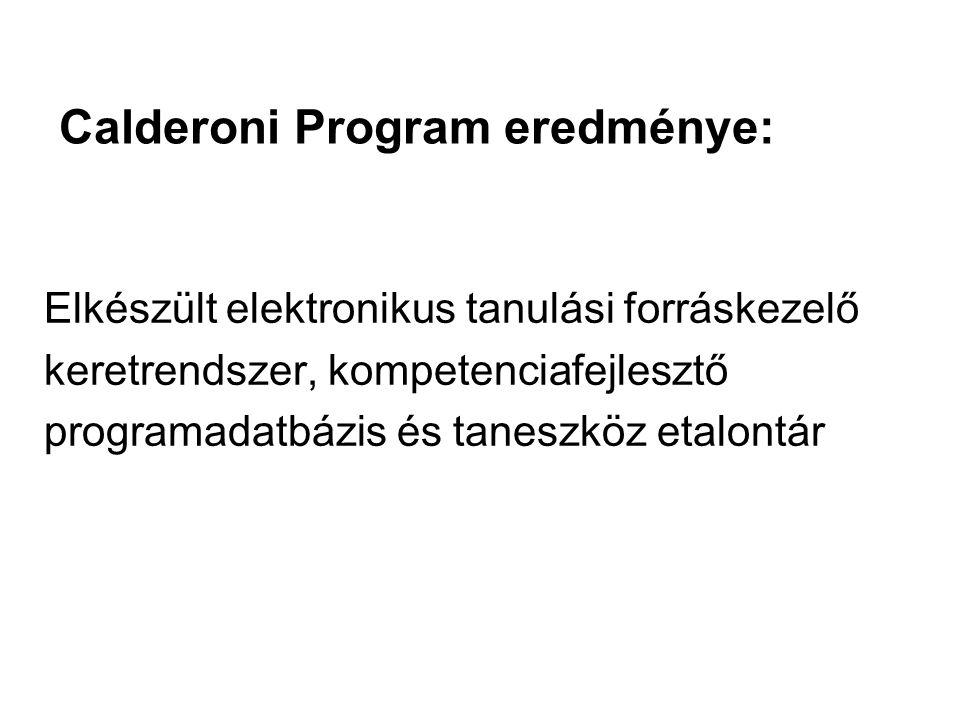 Calderoni Program eredménye: Elkészült elektronikus tanulási forráskezelő keretrendszer, kompetenciafejlesztő programadatbázis és taneszköz etalontár