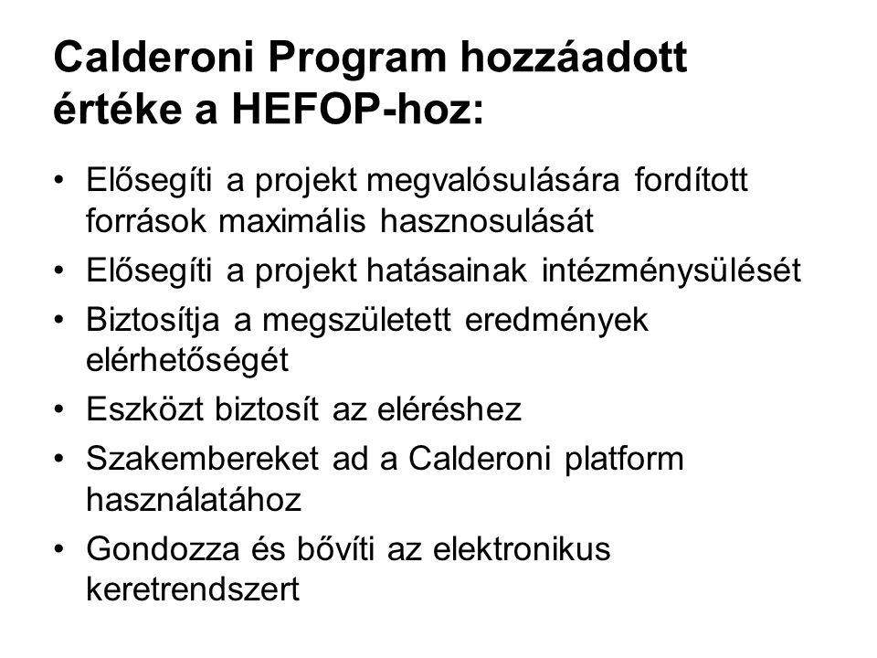Calderoni Program hozzáadott értéke a HEFOP-hoz: Elősegíti a projekt megvalósulására fordított források maximális hasznosulását Elősegíti a projekt hatásainak intézménysülését Biztosítja a megszületett eredmények elérhetőségét Eszközt biztosít az eléréshez Szakembereket ad a Calderoni platform használatához Gondozza és bővíti az elektronikus keretrendszert