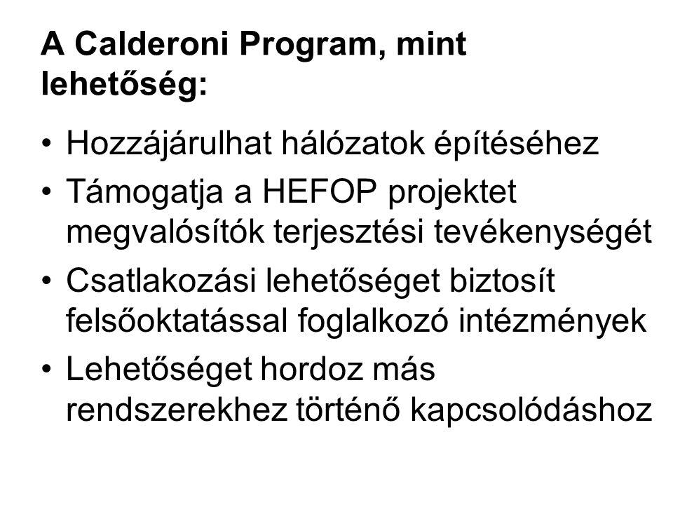 A Calderoni Program, mint lehetőség: Hozzájárulhat hálózatok építéséhez Támogatja a HEFOP projektet megvalósítók terjesztési tevékenységét Csatlakozás