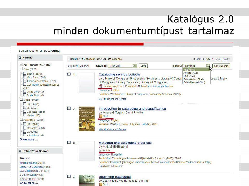 Katalógus 2.0 minden dokumentumtípust tartalmaz