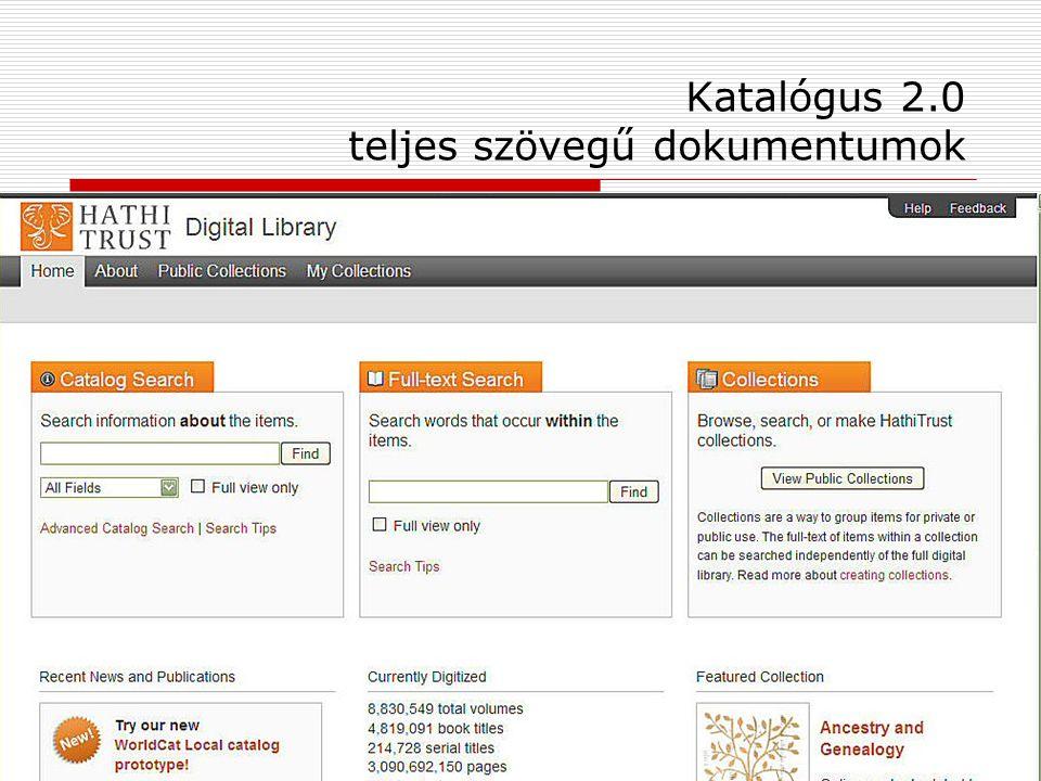 Katalógus 2.0 teljes szövegű dokumentumok