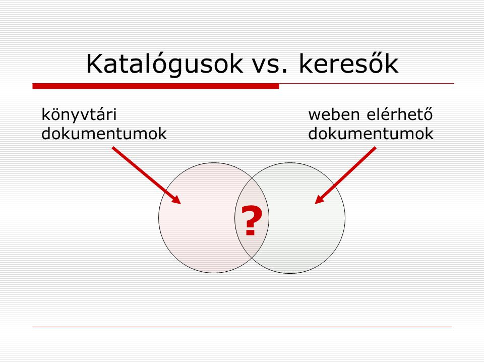 Katalógusok vs. keresők könyvtári dokumentumok weben elérhető dokumentumok