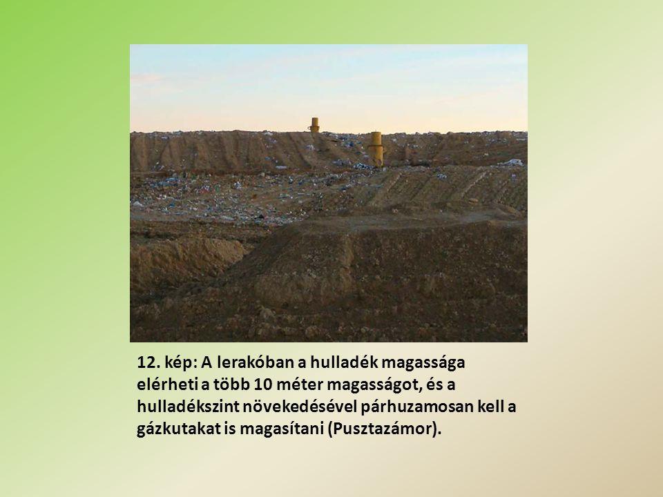 12. kép: A lerakóban a hulladék magassága elérheti a több 10 méter magasságot, és a hulladékszint növekedésével párhuzamosan kell a gázkutakat is maga