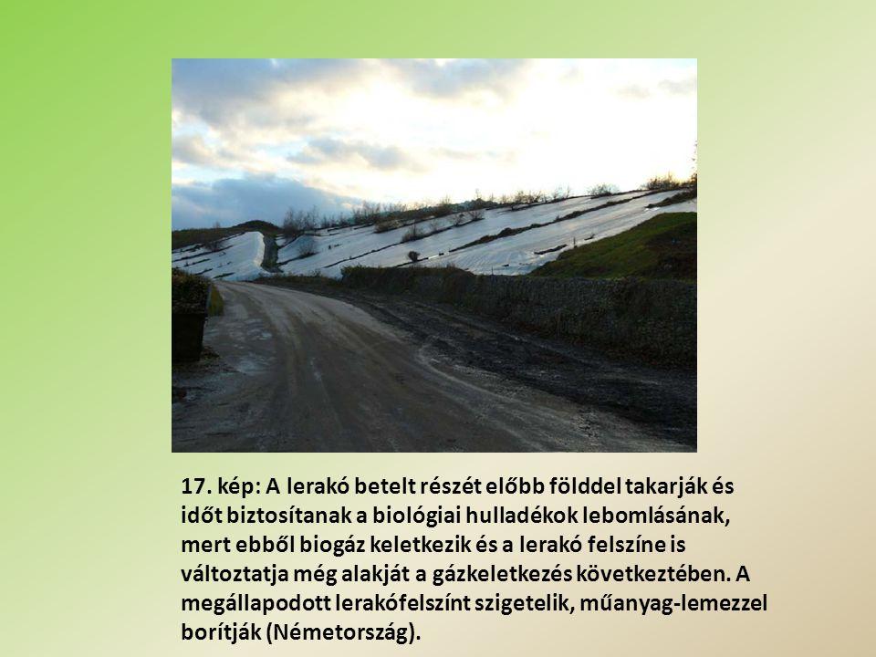 17. kép: A lerakó betelt részét előbb földdel takarják és időt biztosítanak a biológiai hulladékok lebomlásának, mert ebből biogáz keletkezik és a ler