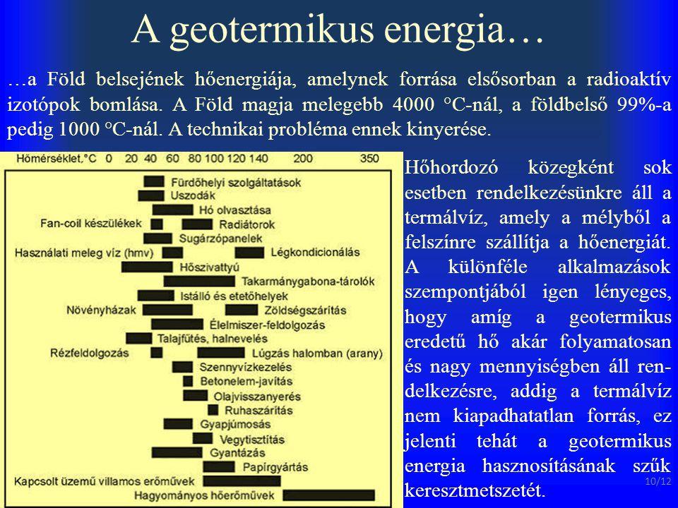 A geotermikus energia… …a Föld belsejének hőenergiája, amelynek forrása elsősorban a radioaktív izotópok bomlása. A Föld magja melegebb 4000 °C-nál, a