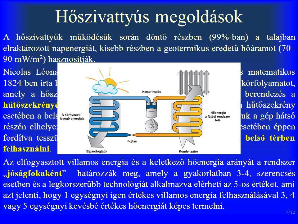 Hőszivattyús megoldások A hőszivattyúk működésük során döntő részben (99%-ban) a talajban elraktározott napenergiát, kisebb részben a geotermikus ered