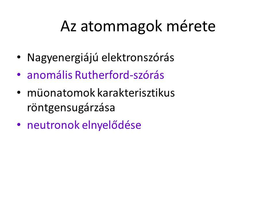 Az atommagok mérete Nagyenergiájú elektronszórás anomális Rutherford-szórás müonatomok karakterisztikus röntgensugárzása neutronok elnyelődése