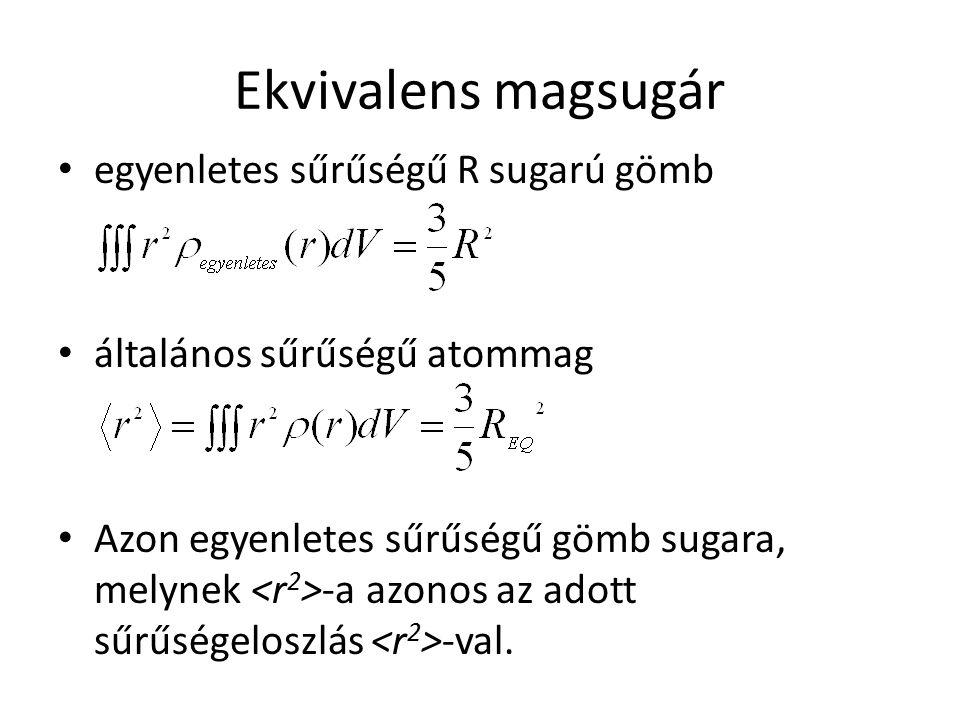 Ekvivalens magsugár egyenletes sűrűségű R sugarú gömb általános sűrűségű atommag Azon egyenletes sűrűségű gömb sugara, melynek -a azonos az adott sűrű