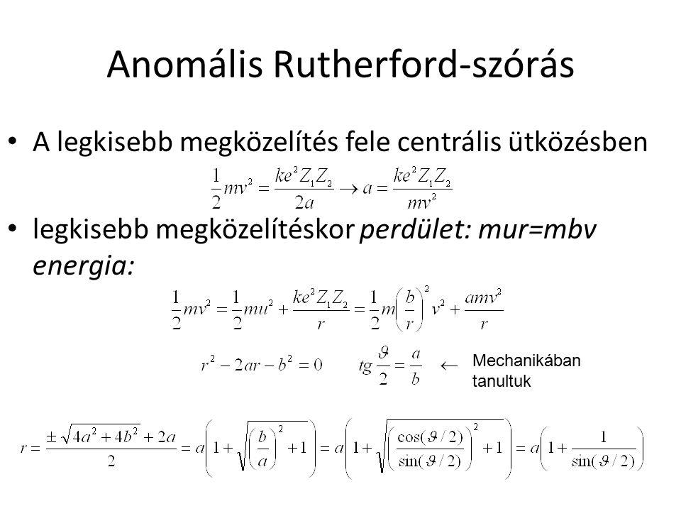 Eredmények R EQ = a(1+1/sin( 0 /2)) Sok mérés alapján: R EQ =1,4 fm  A 1/3 Elektronszórás r 0 =1,2 fm Anomális Rutherford-szórás r 0 =1,4 fm Különbség: kölcsönhatás: elektromos – nukleáris elektromos magsugár < nukleáris magsugár neutronbőr