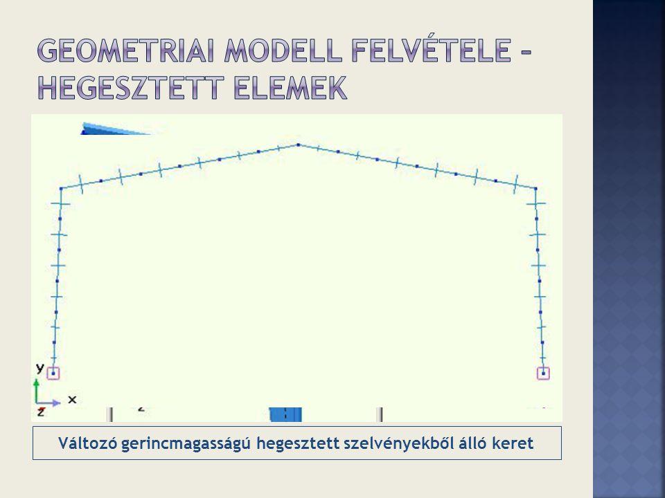 Változó gerincmagasságú hegesztett szelvényekből álló keret