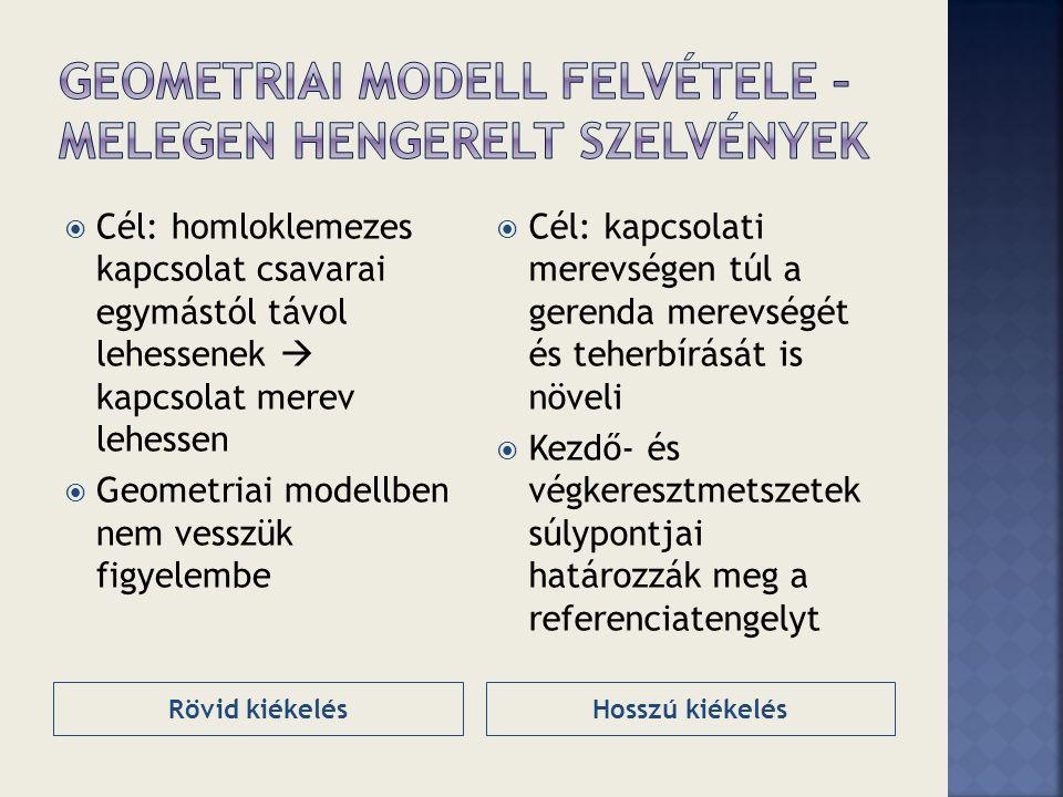Rövid kiékelésHosszú kiékelés  Cél: homloklemezes kapcsolat csavarai egymástól távol lehessenek  kapcsolat merev lehessen  Geometriai modellben nem