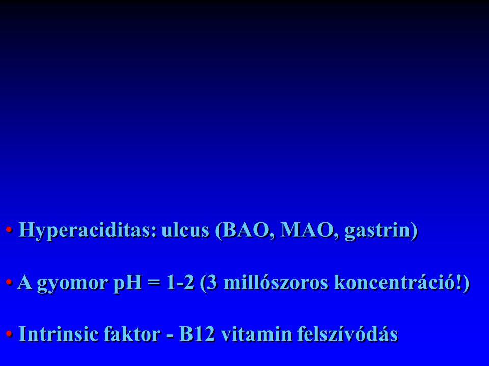 Hyperaciditas: ulcus (BAO, MAO, gastrin) A gyomor pH = 1-2 (3 millószoros koncentráció!) Intrinsic faktor - B12 vitamin felszívódás Hyperaciditas: ulc