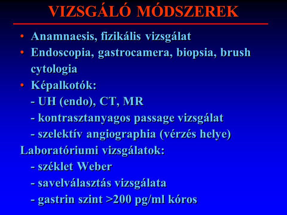 VIZSGÁLÓ MÓDSZEREK Anamnaesis, fizikális vizsgálat Endoscopia, gastrocamera, biopsia, brush cytologia Képalkotók: - UH (endo), CT, MR - kontrasztanyag