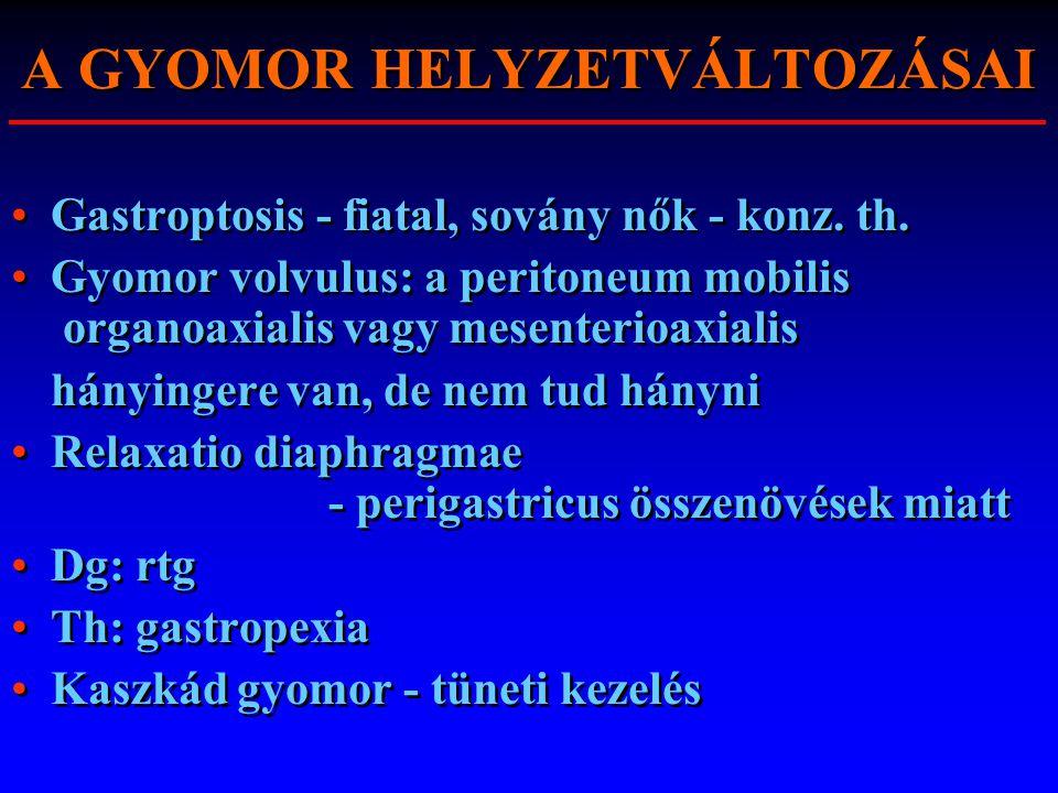 A GYOMOR HELYZETVÁLTOZÁSAI Gastroptosis - fiatal, sovány nők - konz. th. Gyomor volvulus: a peritoneum mobilis organoaxialis vagy mesenterioaxialis há