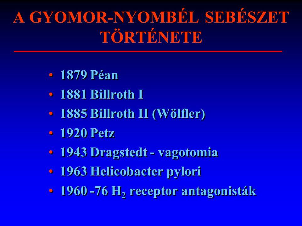 A GYOMOR-NYOMBÉL SEBÉSZET TÖRTÉNETE 1879 Péan 1881 Billroth I 1885 Billroth II (Wölfler) 1920 Petz 1943 Dragstedt - vagotomia 1963 Helicobacter pylori