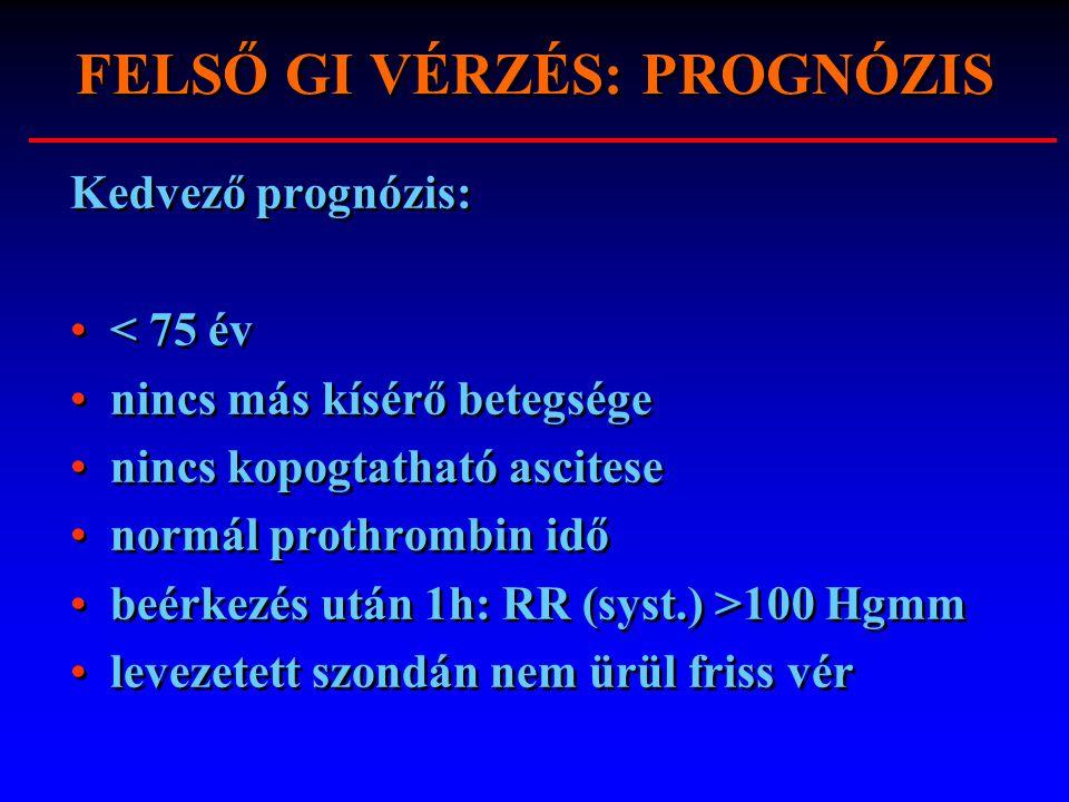 FELSŐ GI VÉRZÉS: PROGNÓZIS Kedvező prognózis: < 75 év nincs más kísérő betegsége nincs kopogtatható ascitese normál prothrombin idő beérkezés után 1h: