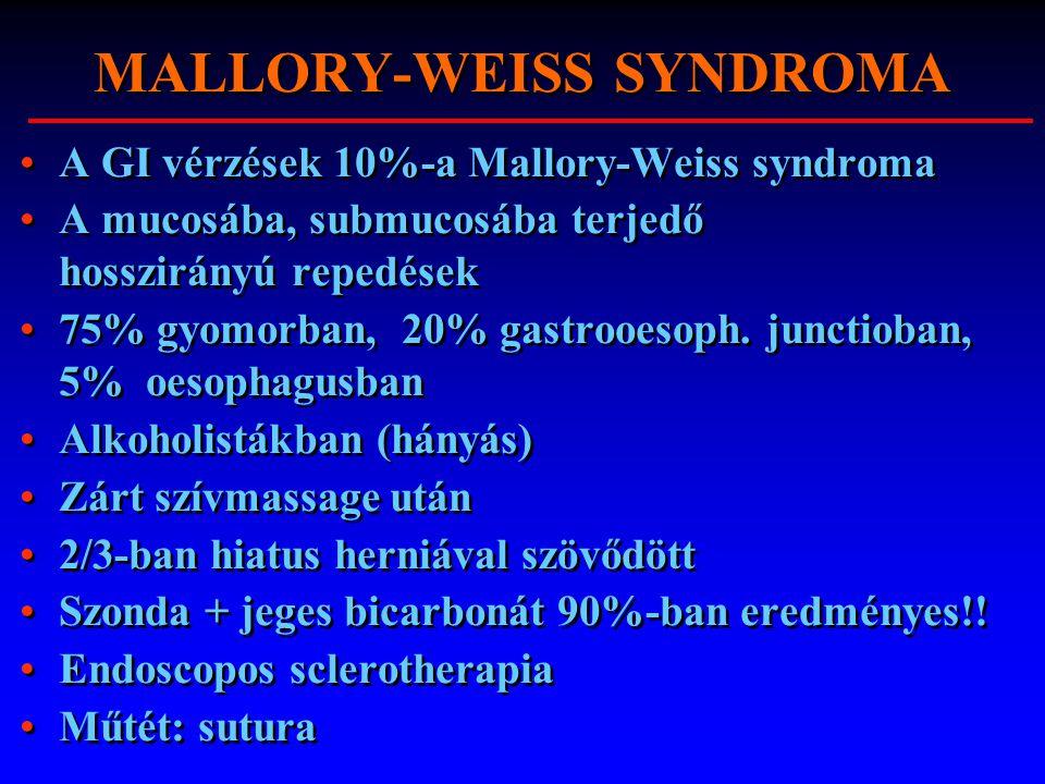 MALLORY-WEISS SYNDROMA A GI vérzések 10%-a Mallory-Weiss syndroma A mucosába, submucosába terjedő hosszirányú repedések 75% gyomorban, 20% gastrooesop