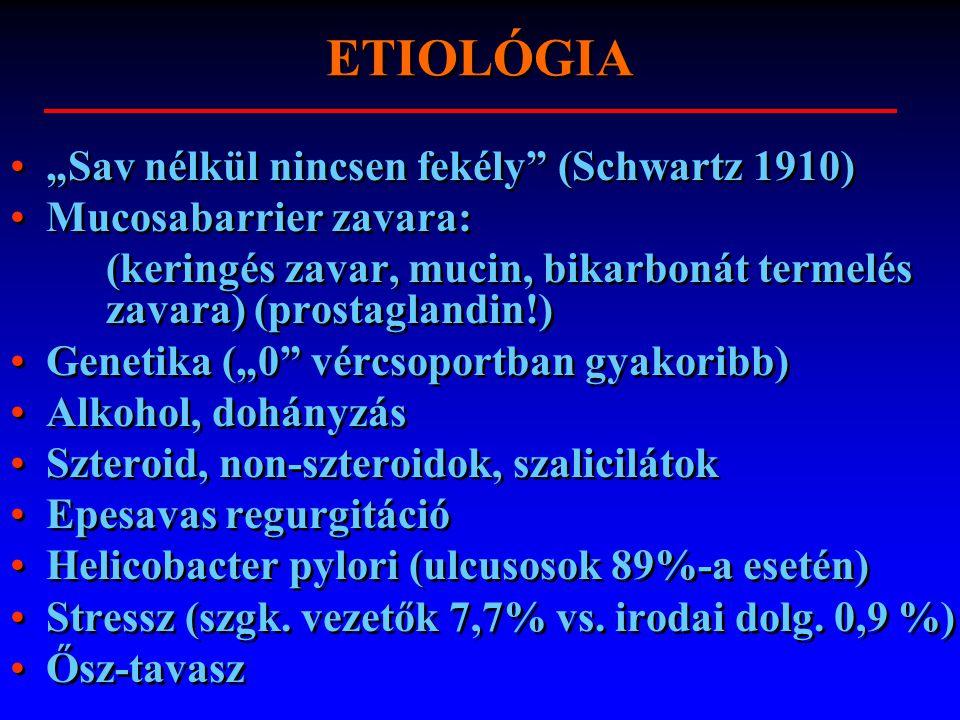 """ETIOLÓGIA """"Sav nélkül nincsen fekély"""" (Schwartz 1910) Mucosabarrier zavara: (keringés zavar, mucin, bikarbonát termelés zavara) (prostaglandin!) Genet"""