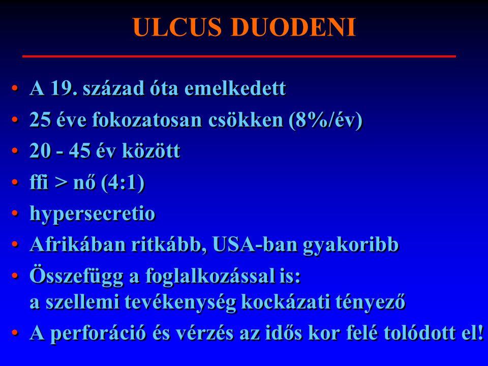 ULCUS DUODENI A 19. század óta emelkedett 25 éve fokozatosan csökken (8%/év) 20 - 45 év között ffi > nő (4:1) hypersecretio Afrikában ritkább, USA-ban