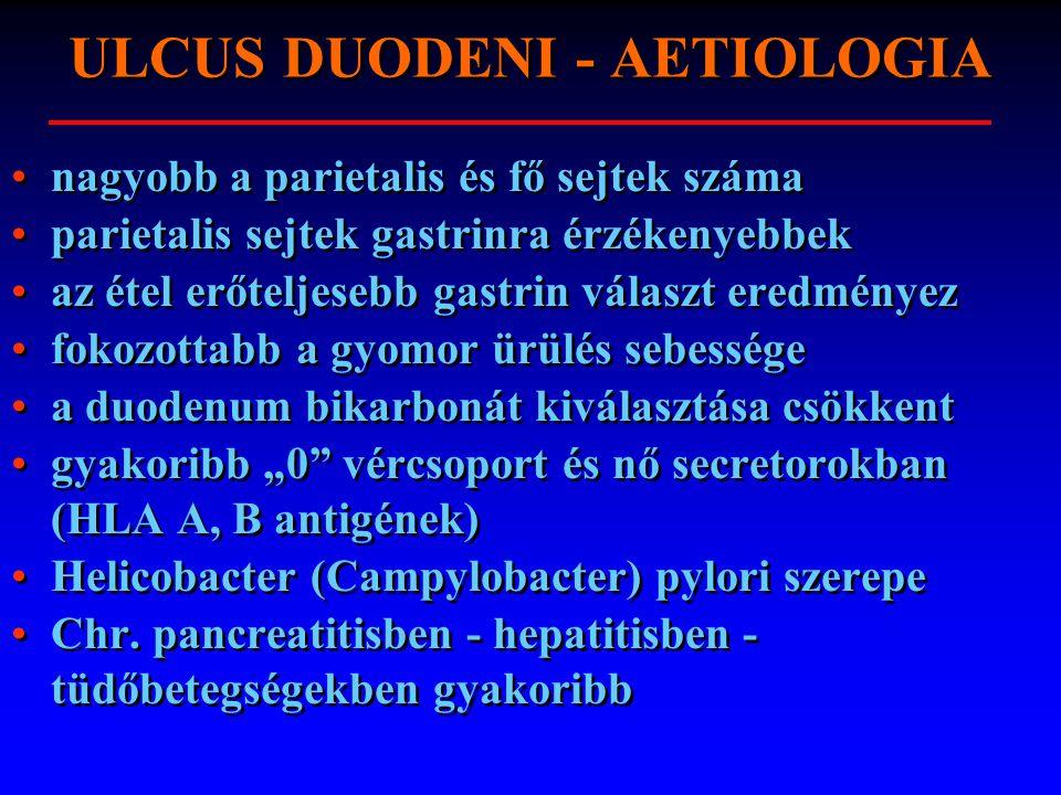 ULCUS DUODENI - AETIOLOGIA nagyobb a parietalis és fő sejtek száma parietalis sejtek gastrinra érzékenyebbek az étel erőteljesebb gastrin választ ered