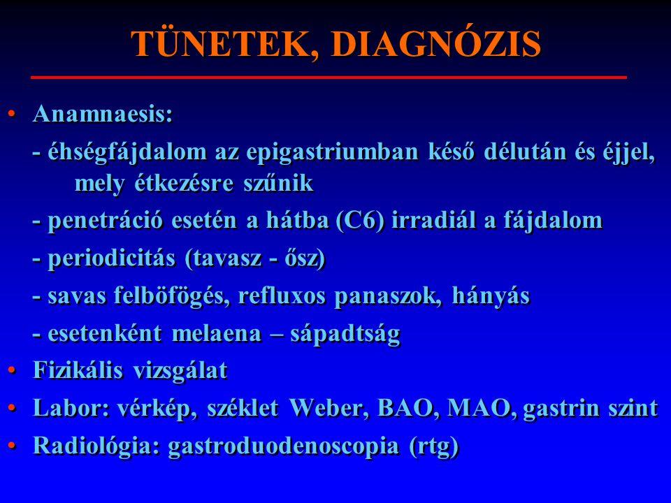 TÜNETEK, DIAGNÓZIS Anamnaesis: - éhségfájdalom az epigastriumban késő délután és éjjel, mely étkezésre szűnik - penetráció esetén a hátba (C6) irradiá